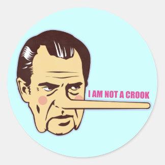 Nixon, I am not a Crook Classic Round Sticker