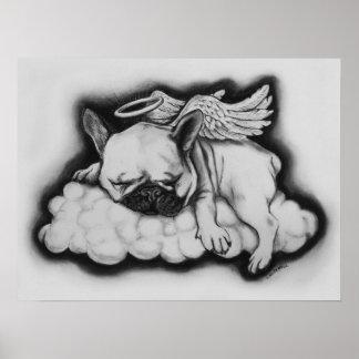 """Niza"" - dibujo del ángel del dogo francés Póster"