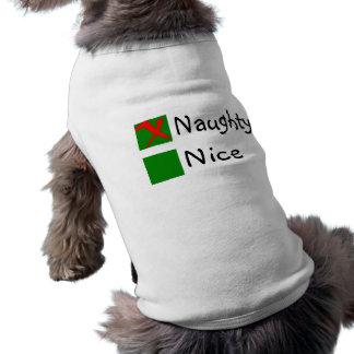 Niza navidad travieso playera sin mangas para perro
