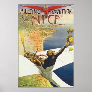 Niza poster clásico de la aviación de Francia