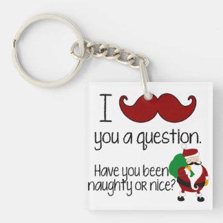 Niza traviesa de Santa del bigote del navidad Llavero