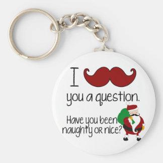 Niza traviesa de Santa del bigote del navidad Llaveros