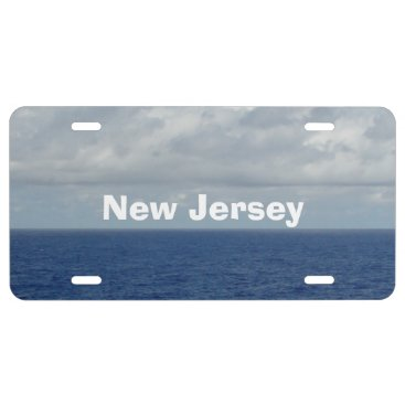 Beach Themed NJ Blue Sea Fluffy Clouds Front License Plate