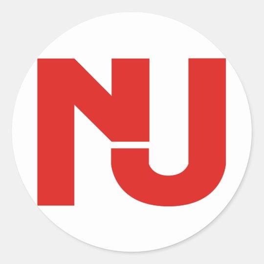 NJ Graphic (Red) Classic Round Sticker