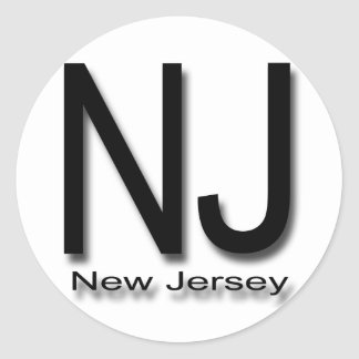NJ New Jersey black Classic Round Sticker