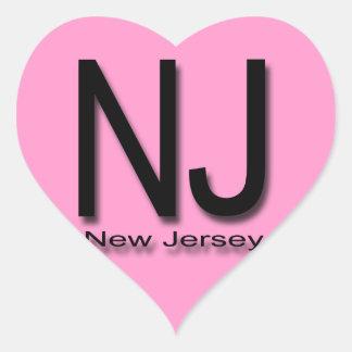 NJ New Jersey black Heart Sticker