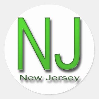 NJ New Jersey green Classic Round Sticker