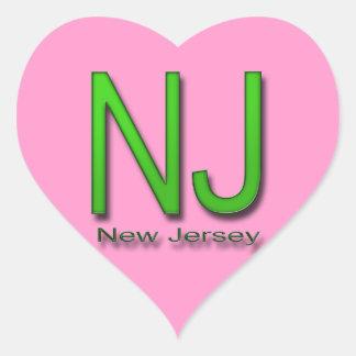 NJ New Jersey green Heart Sticker