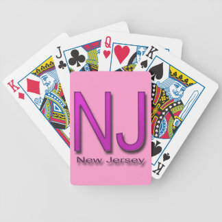 NJ New Jersey magenta Bicycle Playing Cards