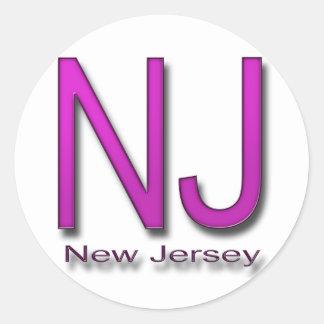 NJ New Jersey magenta Classic Round Sticker