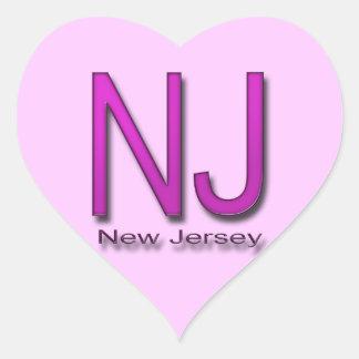 NJ New Jersey magenta Heart Sticker