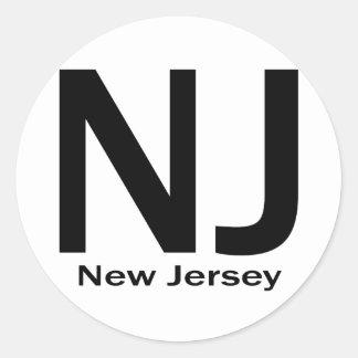 NJ New Jersey plain black Classic Round Sticker