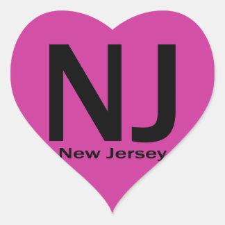 NJ New Jersey plain black Heart Sticker
