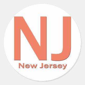 NJ New Jersey plain orange Classic Round Sticker
