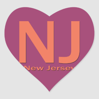 NJ New Jersey plain orange Heart Sticker