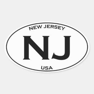 cf2d12d49 NJ - New Jersey USA Oval Logo Oval Sticker