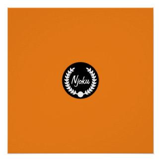 Njoku Orange 'Wreath' Logo Poster. Poster