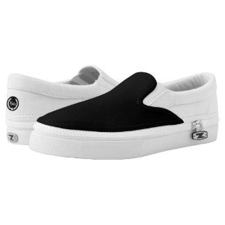 Njoku 'Wreath' Black & White Slip-On Shoe. Printed Shoes