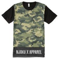 NJOKU X APPAREL Camo L/Strip T-Shirt. All-Over Print T-shirt