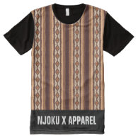 NJOKU X APPAREL Tribal Print L/Strip T-Shirt. All-Over Print T-shirt