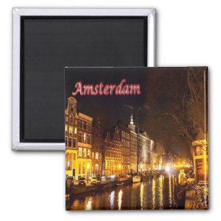 NL-Netherlands Oland-Amsterdam-Landscape At Night Magnet