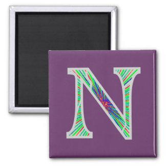 Nn Illuminated Monogram 2 Inch Square Magnet