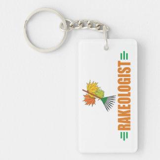 nny Leaf Raking Rectangular Acrylic Keychains