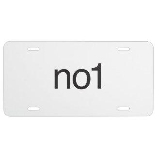 no1 license plate