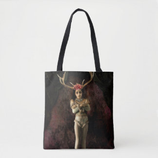 no56 Little Girl with Antlers Black Tote Bag