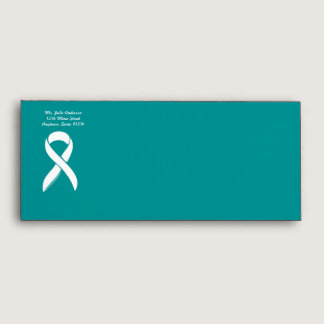 No 10 Teal Ovarian Cancer with Ribbon Envelope