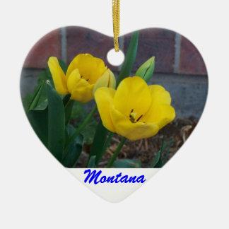 No # 120 - Premium Round Ornament, Yellow Tulip