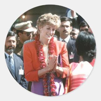 No.126 la princesa Diana visita Delhi, la India Etiquetas Redondas