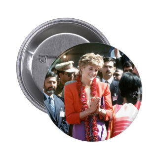 No.126 Princess Diana visits Delhi, India 1992 Pinback Button