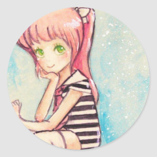 no.188 pink-haired sailor for renee classic round sticker