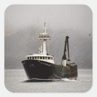 No. 1, barco del Aleutian del cangrejo en el Pegatina Cuadrada