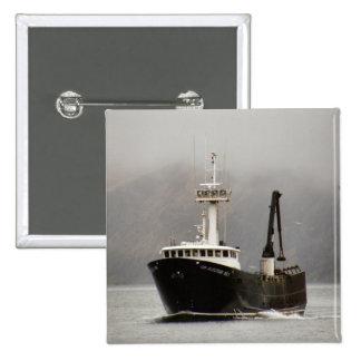 No. 1, barco del Aleutian del cangrejo en el puert Pin Cuadrada 5 Cm