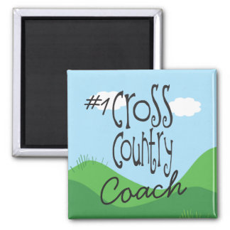 No 1 Cross Country Coach 2 Inch Square Magnet