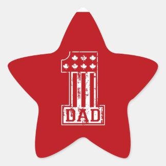 No. 1 Dad Canada Star Sticker