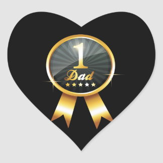 No 1 Dad Gold Medal Heart Sticker