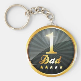 No 1 Dad Gold Medal Key Chain