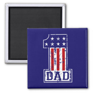 No. 1 Dad USA 2 Inch Square Magnet