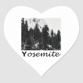 No. 1 de Yosemite blanco y negro Pegatina En Forma De Corazón
