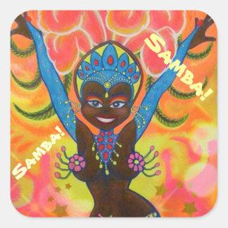 No. 1 del chica de la samba pegatina cuadrada