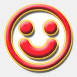 No. 1 del smiley pegatinas redondas