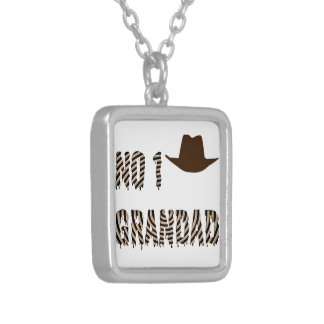NO 1 Grandad With Cowboy Hat Silver Plated Necklace