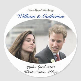 No.1 The Royal Wedding William & Catherine Classic Round Sticker