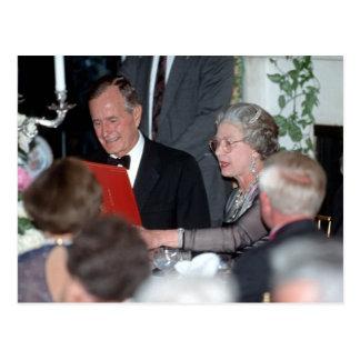 No.20 HM Queen Elizabeth II, President George Bush Postcard