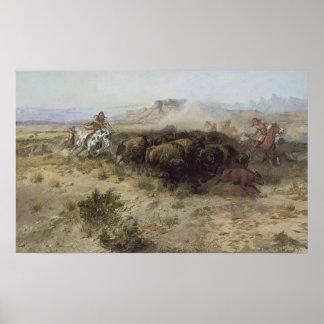 No. 26 de la caza del búfalo por cm Russell, Poster