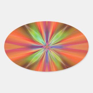 No. 2 del naranja de la flor de Digitaces diseñó Pegatina Ovalada