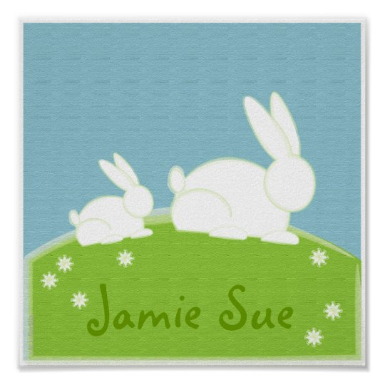 no.2 painted BUNNY personalized baby NURSERY print